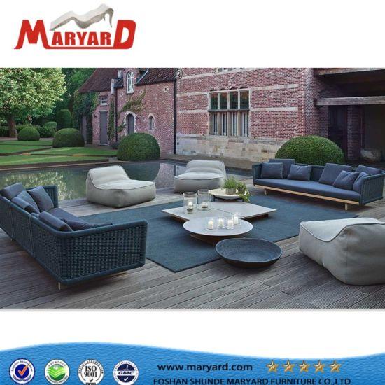 China Hotsale Garden Furniture Outdoor Rope Sofa With Teak Wood Tea