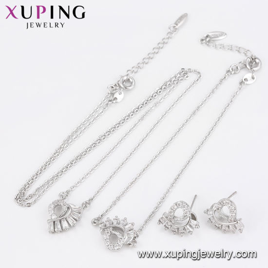 64727 China Wholesale Xuping Newest Luxury Rhodium Zircon Jewelry Set pictures & photos