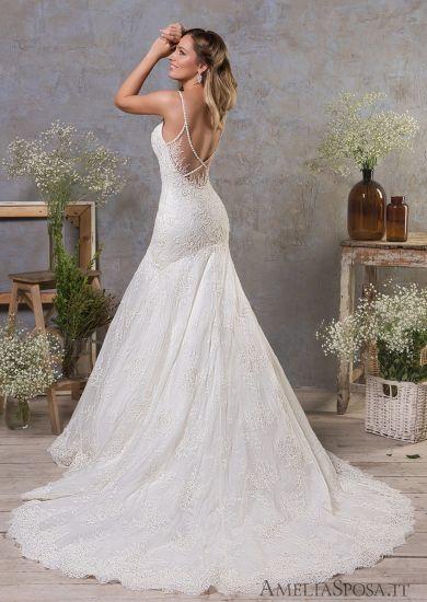 Top Quality Straps Y Back Lace Mermaid Bridal Wedding Dress