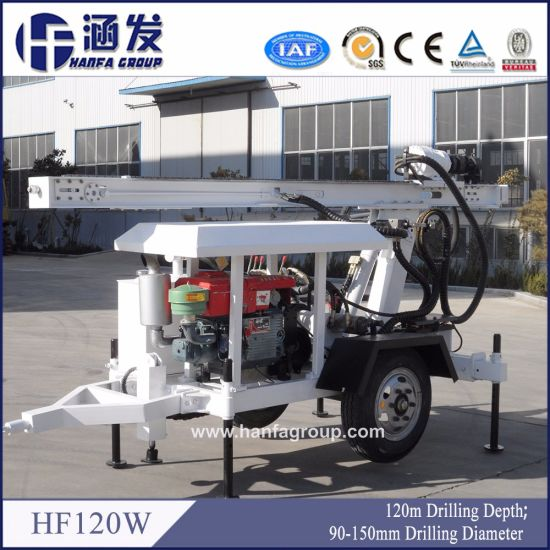 Small Trailer Type Water Well Drilling Rig Hf120W pictures & photos