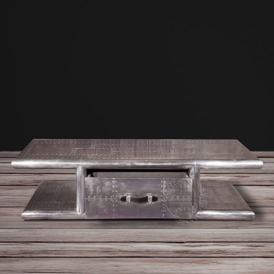 European Style MDF Frame Covered Aluminum Trunk Coffee Table