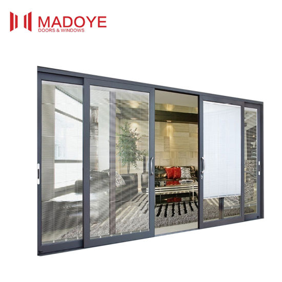 Modern Design Wood Grain Glass Sliding Door pictures & photos