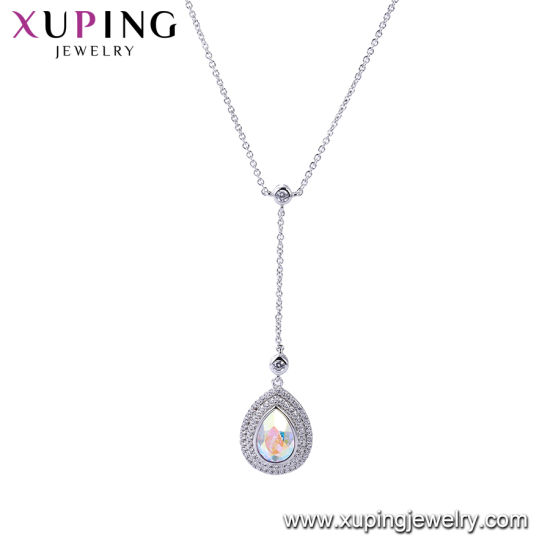 Fashion Long Single Green Stone Necklace