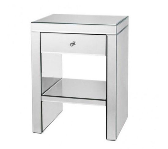 China Venetian Mirrored Bedside Table Glass Side Cabinet Modern Bedroom Furniture China Bedside Table Mirrored Nightstand