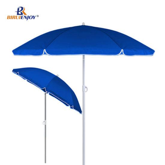 Beach Sun Parasol Garden Umbrella Metal Pole with Tilt 200 Cm