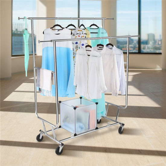 Collapsible Adjule Double Rail Rolling Clothing Garment Drying Rack Chrome Finish Jp Cr406