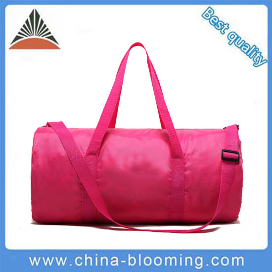 487f76cd6aa Pink Nylon Shoulder Gym Custom Sports Foldable Travel Duffel Bag pictures    photos