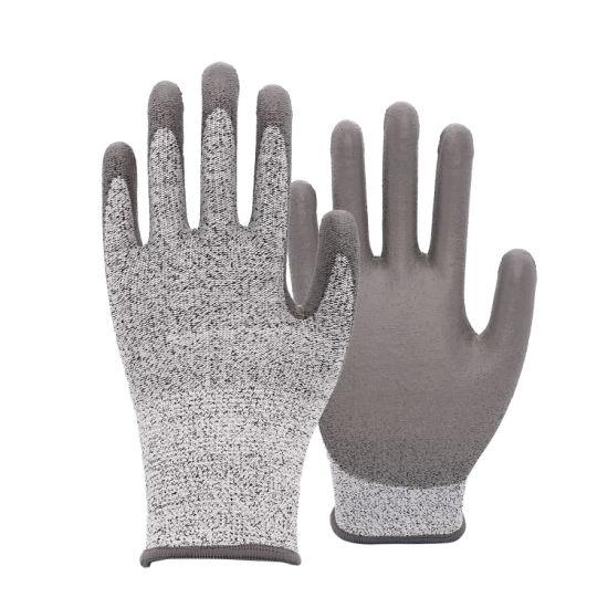 13 Gauge Hppe, Nylon, Spandex, Glass Fiber Knit with Black Sandy PU Coated Glove for Work