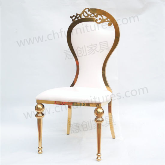 Gold Stainless Steel White Leather Cushion Wedding Chair for Bride and Groom pictures & photos