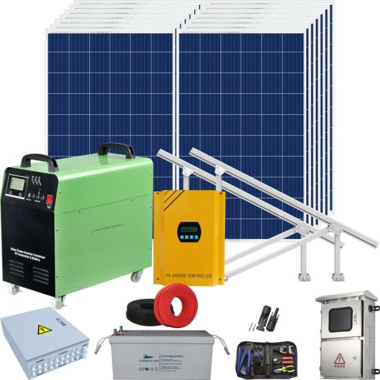 Home Solar Panel Product Kit PV Energy Mounting Supply off Grid Hybrid Inverter Solar Power System 5kw