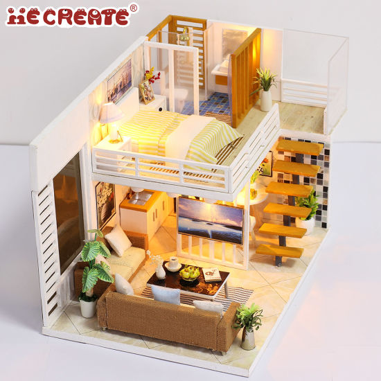 China Wholesale With Light New Arrival Miniature Diy Wooden Doll