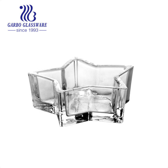 High White Quality Transparent Star Shape Glass Candle Holder for Votive GB2222-4