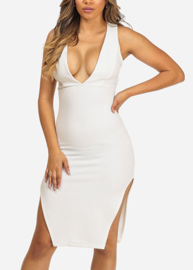 Wear White Sleeveless Bodycon Side Slits Knee Long Evening Dress