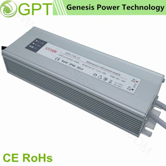 150W 12V Switching Mode Waterproof Outdoor IP68, Single Output AC/DC Power Supply for LED Light/Strip with Ce RoHS
