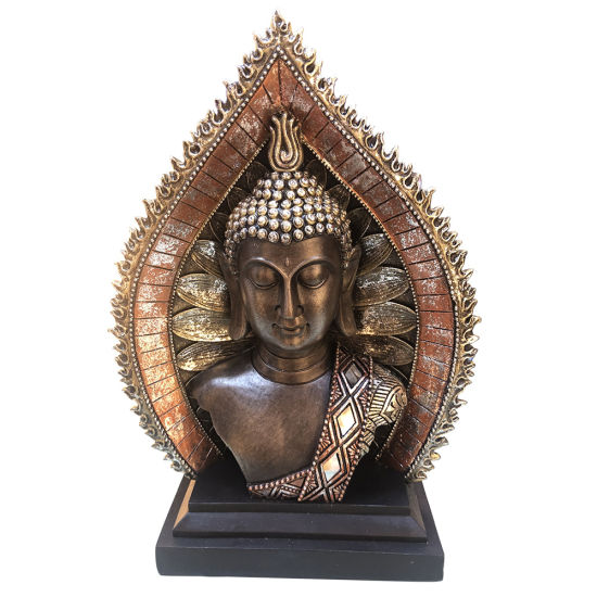OEM Peace Harmony Polyresin Zen Buddhism Craft, Resin Golden Meditating Buddha Head Statue with Halo and Base