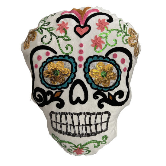 Skulle Face Halloween Party Decorative Beautiful LED Light Printed Cushion Pillow