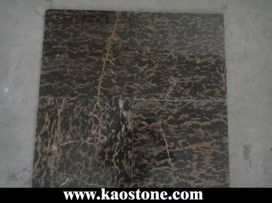 Polished Natural Black/Nero Marquina Marble, Portoro Marble Tile for Floor/Flooring/Wall pictures & photos