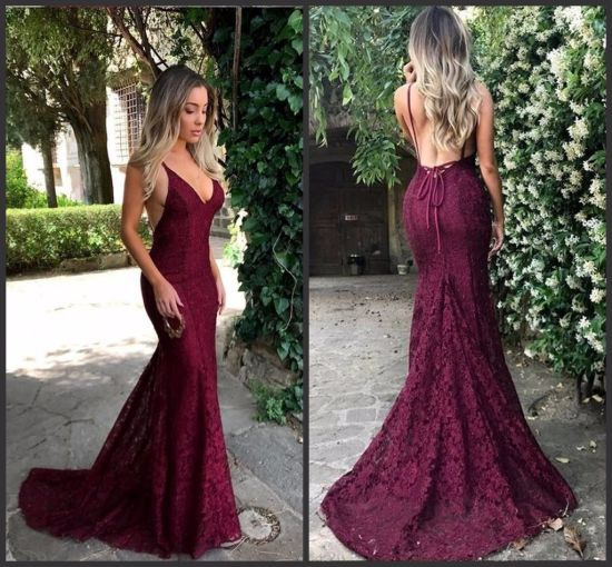 6b266541c51 Lace Prom Gown Purple Wine Backless Party Bridal Evening Dress Ld15266  pictures   photos
