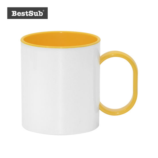 sublimation printed Coffee Mug in WHITE INNER YELLOW