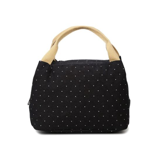 Bento Black White Polka DOT Picnic School Office Canvas Lunch Bag