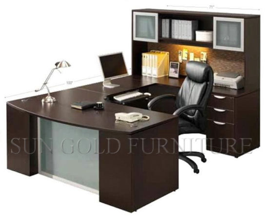 Modern Laminated Particle Board Computer Desk with Shelves Price (SZ-OD217) pictures & photos