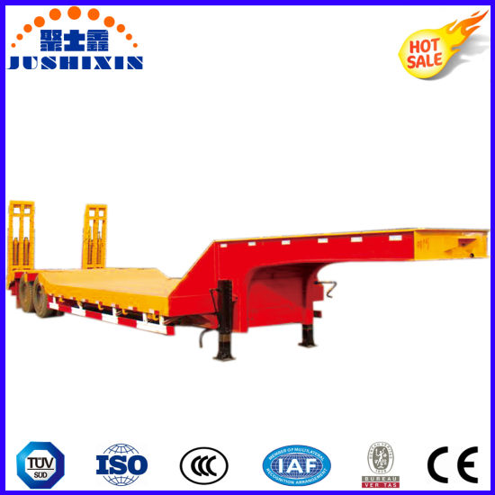 2-Axle 13meters Digger Cargo Transporting Lowbed Truck Trailer pictures & photos