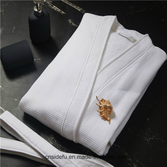 Cheap Double Layer White Shawl Collar Luxury Hotel Waffle Terry Bathrobe pictures & photos