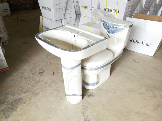 Chaozhou Factory Sanitary Ware Ceramic Decorative Pedestal Basin for Kuwait