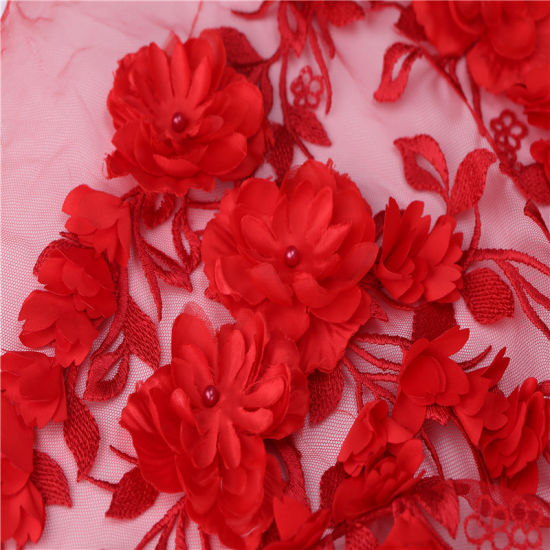 Bridal lace fabric Embroidery lace fabric 3D fashion lace fabric Red flower lace fabric