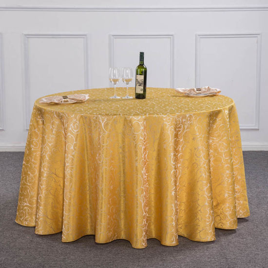 China Restaurant 100 Polyester Plain Round Table Cover Cloth For