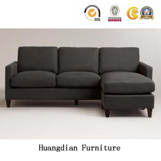 L Shape Dark Grey Fabric Sectional Sofa