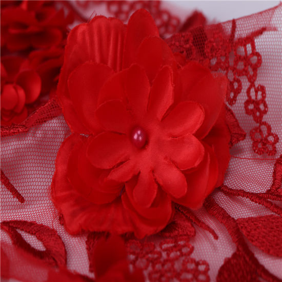 Beaded and Pearls Embroidered Red Roses On Black Lace Fabric BTY