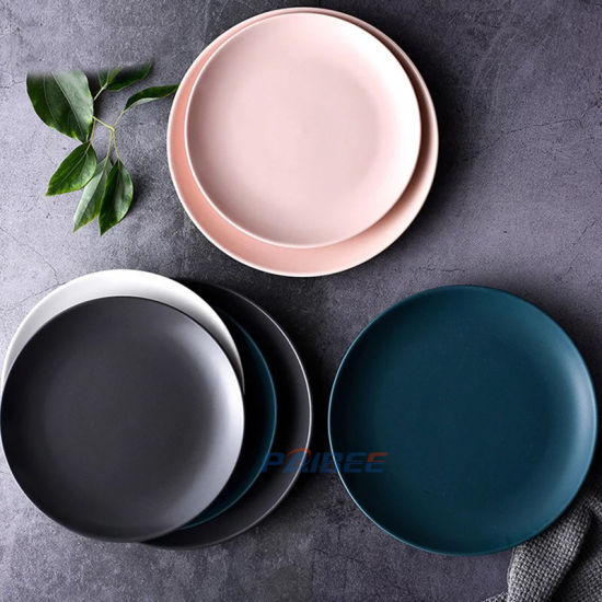 Wholesale Nordic Style Round Matte Glazed Colors Decorative Plate Cheap Dinner Ceramic Plate Set pictures & photos