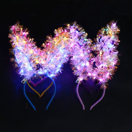 Rabbit Ears Cute Glow LED Headband Headwear Plush Hair Ornaments for Party Show Concert Products