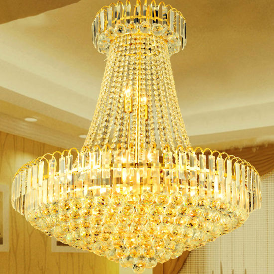 Large Gold and Crystal Chandelier for Hotel Project Lighting Fixtures (WH-NC-13)
