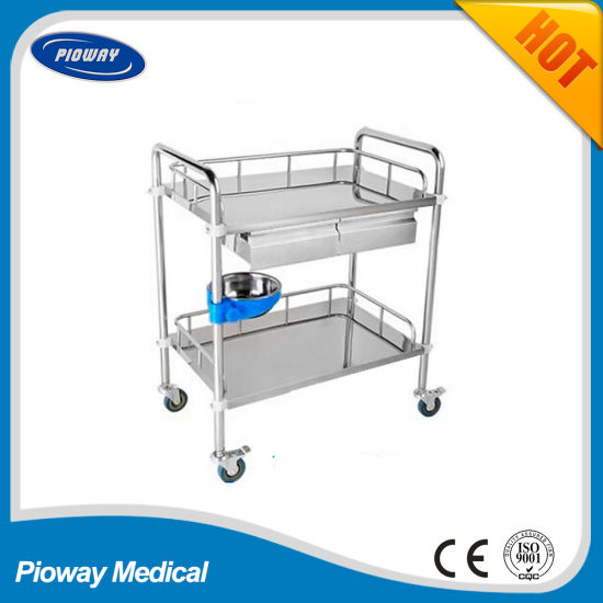 Stainless Steel Medical Hospital Trolley Cart, Two Shelves Medicine Trolley with Drawers and Baisn Pw-813