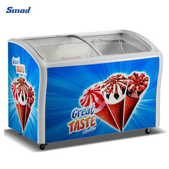378L Curved Sliding Glass Lid Horizontal Ice Cream Showcase Freezer