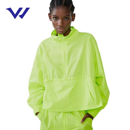 Free Logo Custom Jacket High Collar Jacket with Adjustable Drawstring Hood and Long Sleeves Front Zip Pockets Jogging Suits