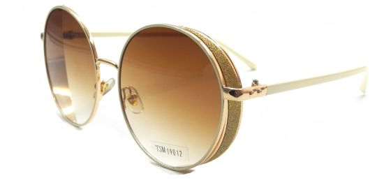 New Fashion Gold Safety Sunglasses, Round Polarized Glasses Lens with Gold Pearly Part