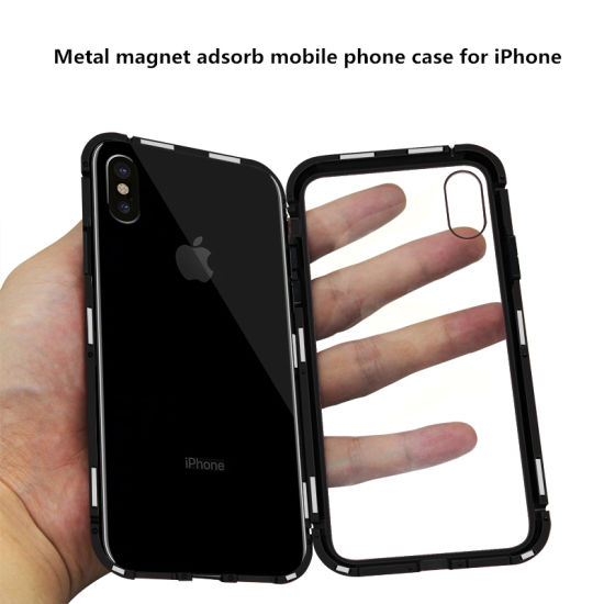 Metal Magnet Adsorb Transparent Tempered Glass Mobile Phone Case for iPhone pictures & photos
