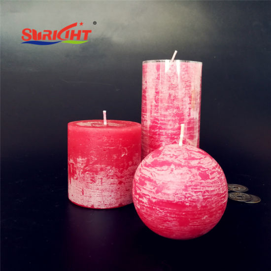 Red Paraffin Rustic Sizes European Used for China Wedding Fashion Pillar Candle