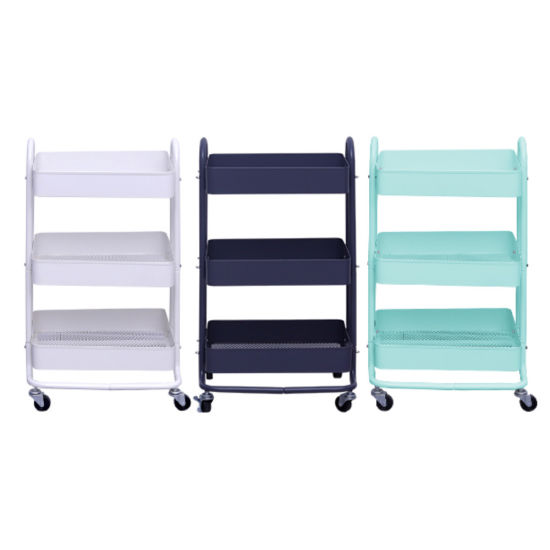 Mobile 3tier Metal Rolling Cart Organizer for Kitchen Bathroom Makeup Trolley Storage with Wheels White Utility Cart with Handle