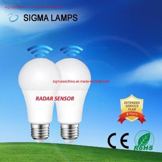 Sigma CE Eco Smart 7W 9W 12W Human Motion Moving Radar Sunlight Sensor Lamp LED Security Light Bulb with B22 E27 E26 Holder