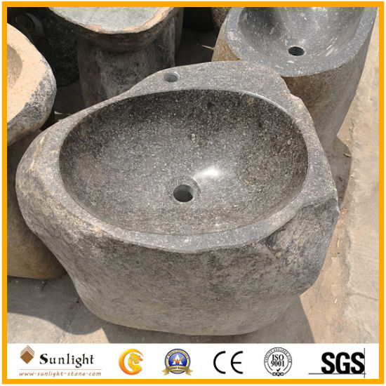 Good Quality River Stone Chinese Granite Wash Basin Outdoor Sinks