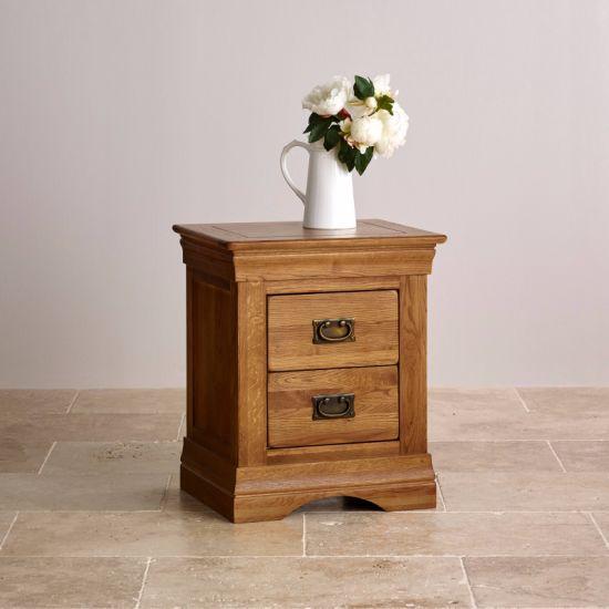 Rustic Vintage Oak Solid Wood 2 Drawers Bedside Nightstand Bedroom Furniture