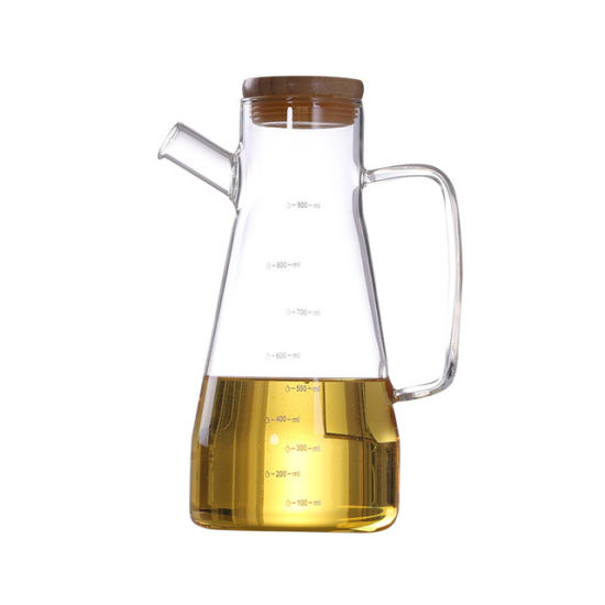 Wood or Stainless Steel Lids Oil Glass Bottle with Scale