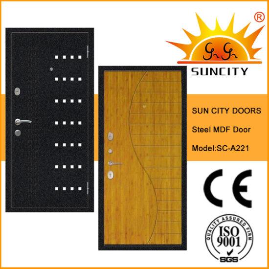 Top Quality MDF Inside Steel Armored Door with Veneer (SC-A221)