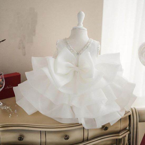 Ivory Organza Ruffled Girl Dress for Wedding