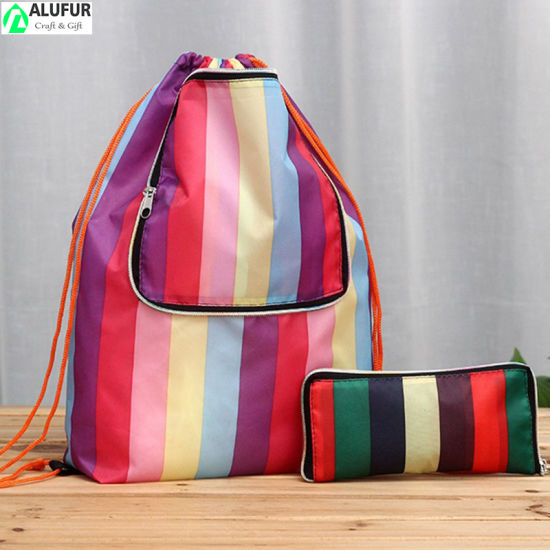Foldable Zip Front Drawstring Cinch Shopping Bag