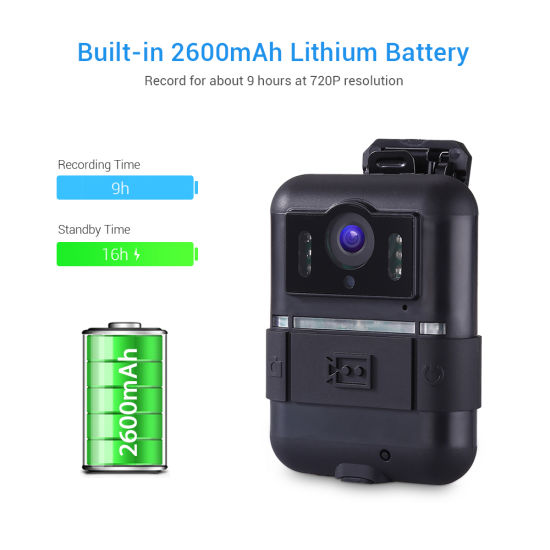 Body Worn Camera HD 1296p Security Camera Night DVR Wearable IP Camera pictures & photos